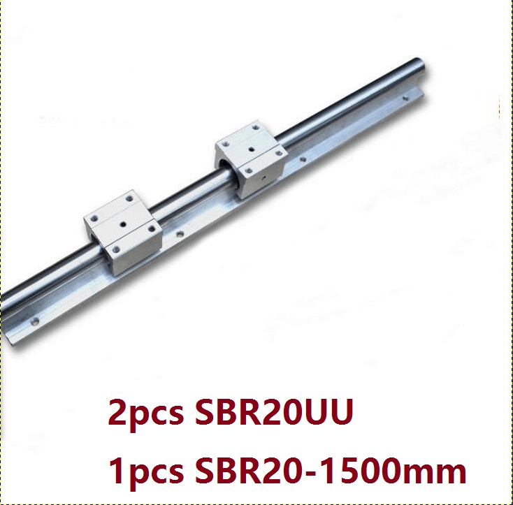 1pcs SBR20 - 1500mm linear guide rail support + 2pcs SBR20UU bearing blocks cnc router parts