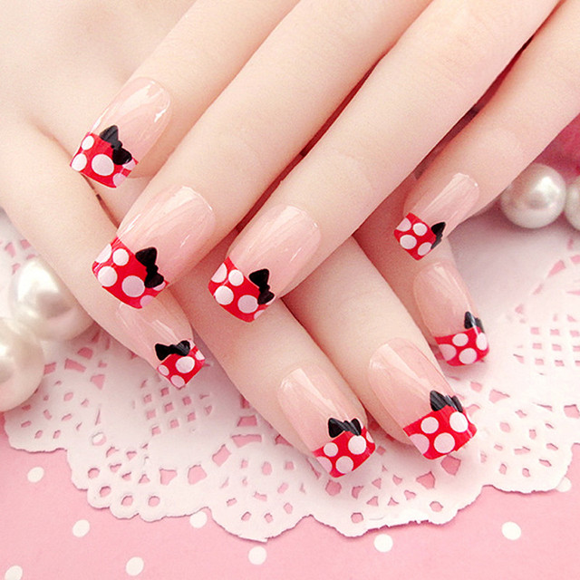 24 Pcs Fashion Long Full Cover False Nails French Lovely Fake For Party Use With