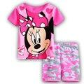 2016 novo estilo de Puro Algodão Rosa Minnie roupas de estilo, a roupa das crianças, roupas de verão, roupas, pijamas dos desenhos animados, F1