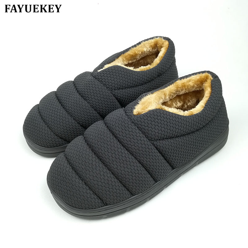 FAYUEKEY Winter antislip rups Katoen Pluche Home Slippers Heren Indoor Vloer Outdoor Thicken Jongens Warm Slippers Platte Schoenen