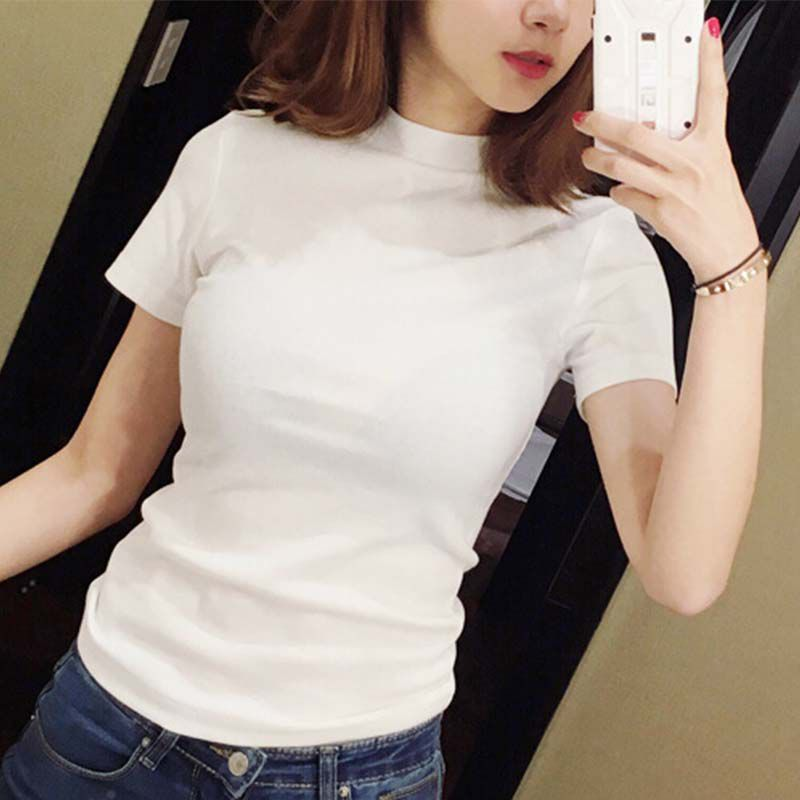 Women T-Shirt Slim Casual Short Sleeve T-Shirts Ladies Black Solid Basic Tee Tops Turtleneck Clothing