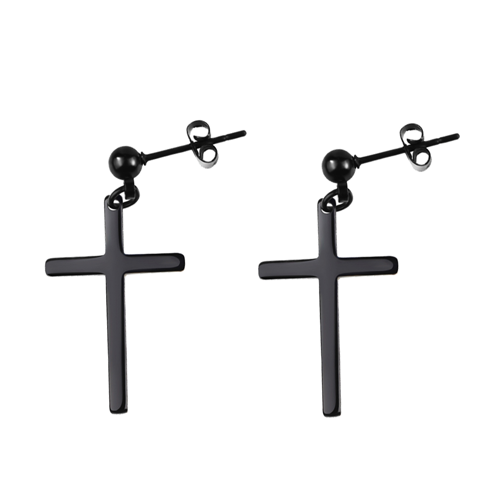 Black Solid Steel  punk viking cross Earrings Small Crucifix Cross Dangle Earring Fashion Women Men tassels pendant jewelry gift