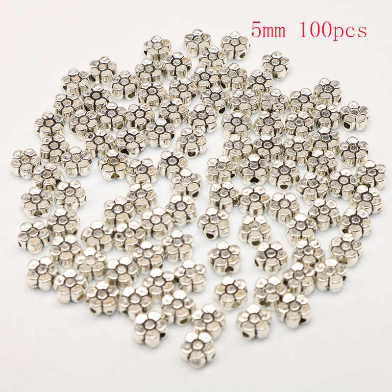 100 Stks/partij Zinklegering Spacer Kralen Bloem Metalen Kraal Voor Verzilverd Loose Bead Diy Sieraden Armband Maken Wholesale Prijs