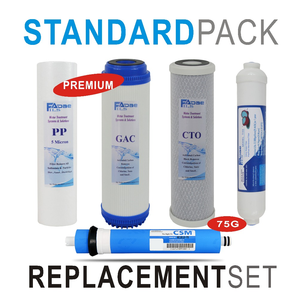 Premium Reverse Osmosis System Replacement Filter Set 5 Stage Filters with 75 GPD RO membrane - 5pcs/lot 5 stage reverse osmosis ro water filters replacement set with water filter cartridge 75 gpd membrane 50 gpd membrane