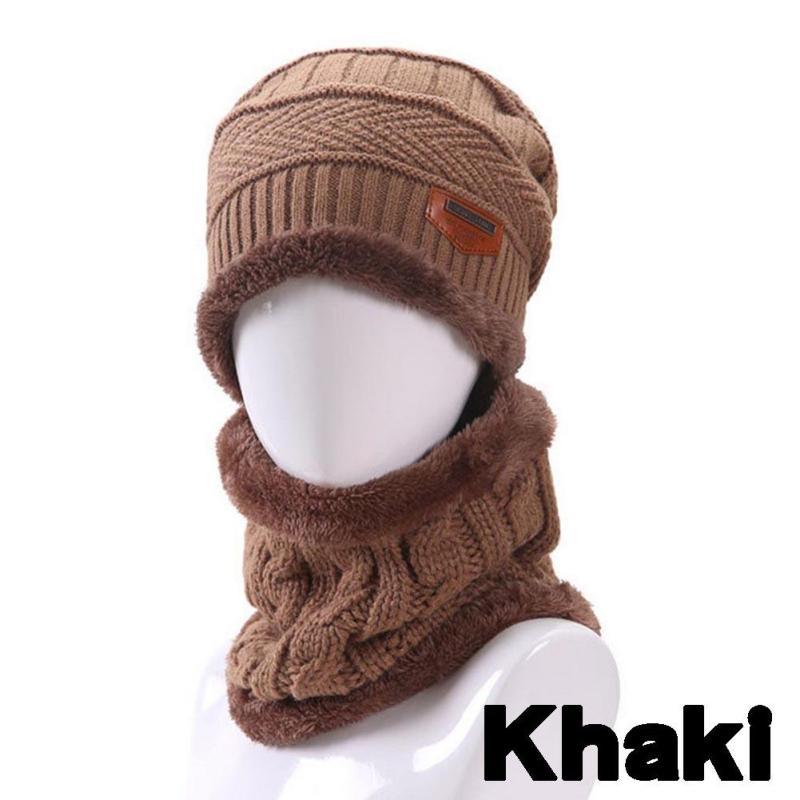 2pcs Men's Warm Fur Hats Thick Knitted Caps+Ring Scarves Male Casual Snow Hat Hooded Boy Gorros Bone Bonnet Earmuffs Z30 toby litt dead boy detectives volume 2 ghost snow