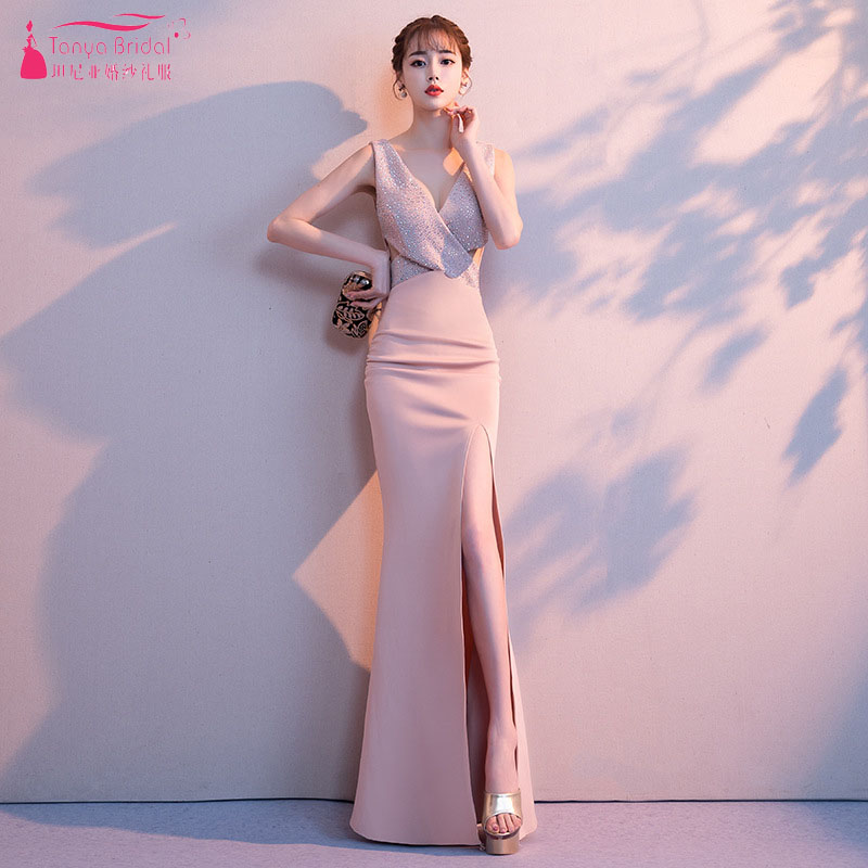 Pink V-Neck Mermaid   Bridesmaid     Dresses   2018 Side Split Sparkly Crystal Long Wedding Guest Gowns Women Formal Wear ZB067