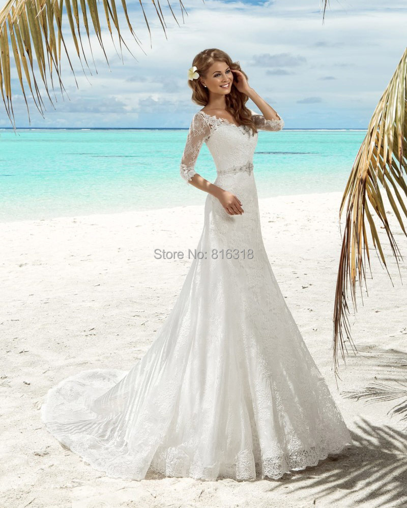 Sexy Mermaid Wedding Dresses With Sleeves Rhinestone Beaded Belt