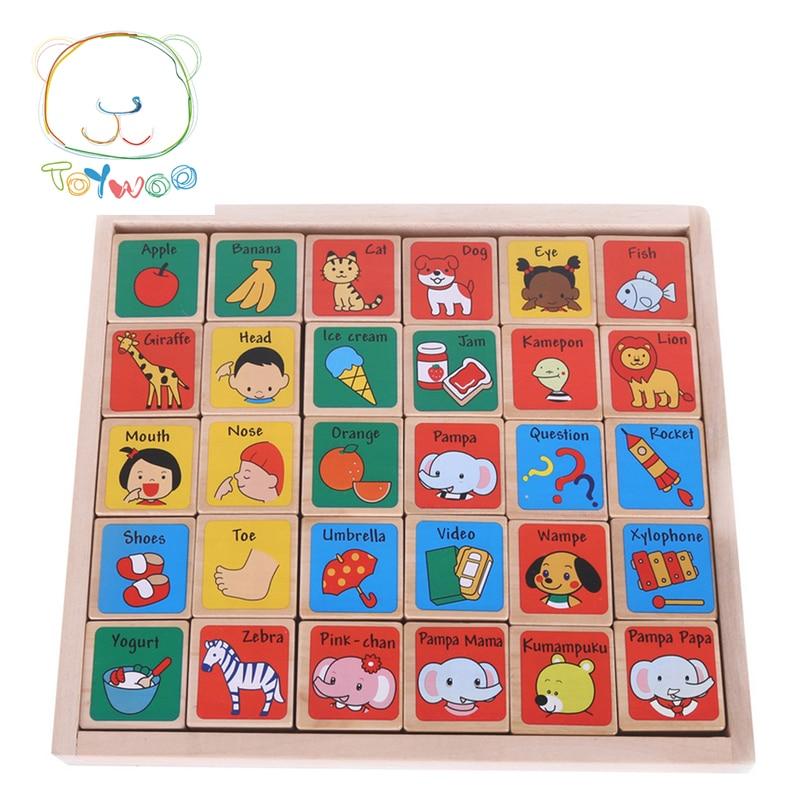 Bērnu koka rotaļlietu alfabēta bloki 30PCS Domino bērnu figūriņas rotaļlieta bērniem izglītības koka rotaļlieta Montessori rotaļlietas