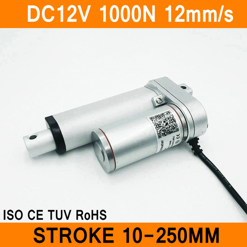 Linear Actuator 12V DC Motor 1000N 12mm/s Stroke 10-250mm Linear Motion Controller IP54 Aluminum Alloy Waterproof CE RoHS ISO linear actuator 24v dc motor 250n 48mm s stroke 300 1200mm linear electric motor ip54 aluminum alloy heavy duty ce rohs iso