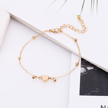 WNGMNGL 2019  Hot Sale Simple Heart Crystal Chain Anklets Adjustable For Women 5PS/Set Niche Temperament Tortoise Gold