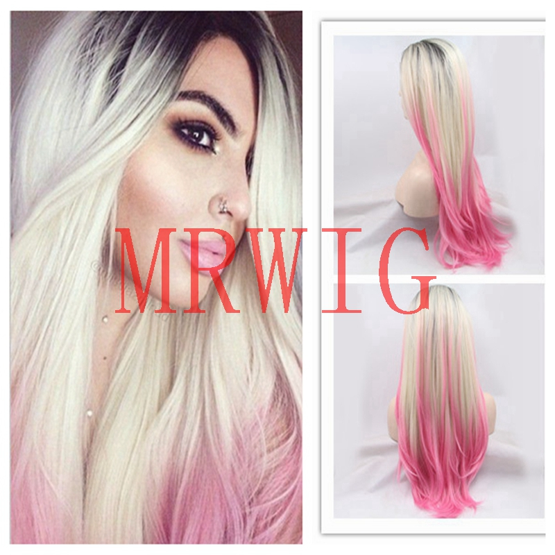 MRWIG 3tone natural straight free part 1b#/#blonde/pink synthetic #613 hair color for fashion lady short dark roots