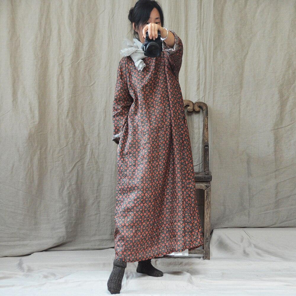 Kadın Giyim'ten Elbiseler'de Kadın Sonbahar Bahar Keten Baskılı Elbise Bayanlar Gevşek Vintage Retro Baskı Artı Boyutu Elbise Kadın Sonbahar Baskı Keten Elbise 2018'da  Grup 1