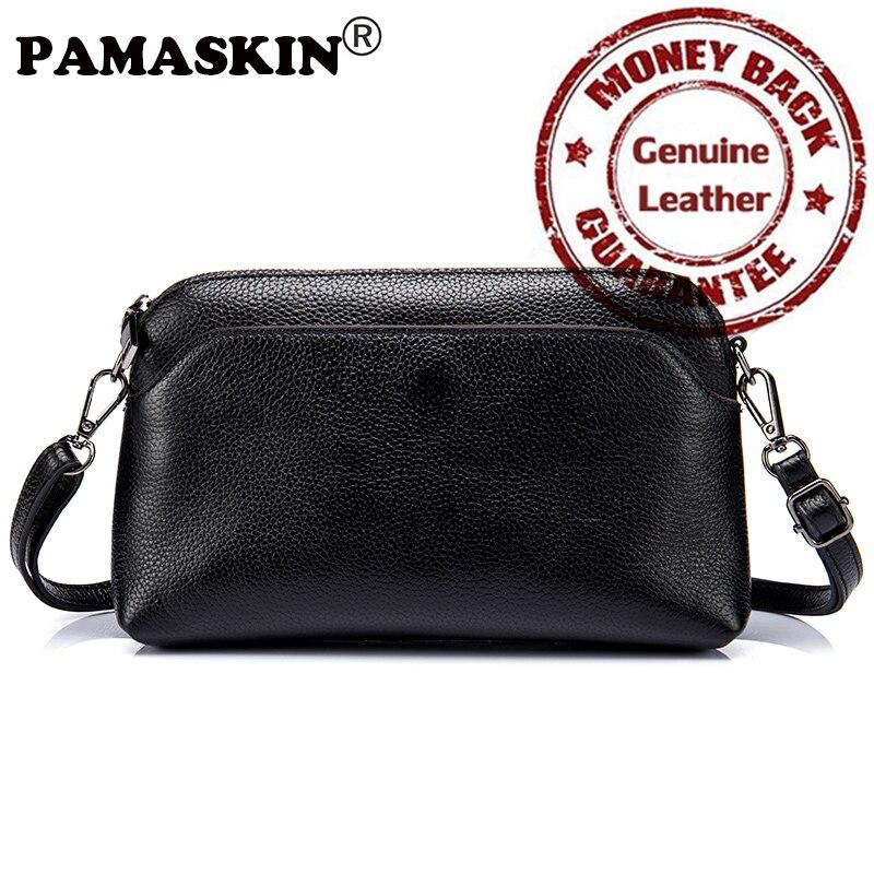PAMASKIN Brand 2017 New Arrivals Premium Genuine Leather Messenger Bags for Women Hot Designer Female Day
