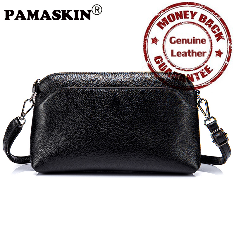 PAMASKIN Brand 2018 New Arrivals Premium Genuine Leather Messenger Bags for Women Hot Designer Female Day Clutches Small Handbag yuanyu 2018 new hot free shipping pearl fish skin long women clutches euramerican fashion leisure female clutches