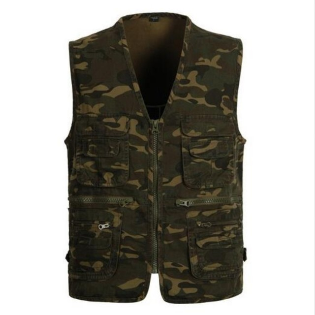 New Arrival Spring Mens fashion New Cool Camo Vest Multi-pocket Casual Jacket WaistCoats Vests Overall Vests Army Gree Free