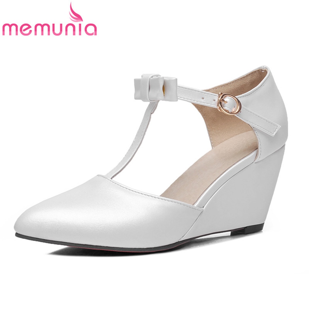 MEMUNIA ladies pumps women shoes spring autumn pu leather pointed toe sweet new arrive comfortable wedges dance shoes cosidram pointed toe women oxfords spring autumn fashion women flats pu leather lace up women shoes ladies 2017 bsn 023