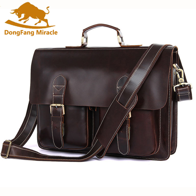 DongFang Miracle vintage men bag genuine leather business handbag brand high quality leather briefcase Crossbody shoulder Bags dongfang miracle high quality genuine leather men messenger bags casual shoulder bag male multifuntional small bag