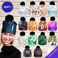2017 3D Animal Print Mujeres Sombreros Otoño e Invierno Cap colores Unisex Sombrero de Dama de La Moda Sombreros Bola Pom Gorros Skully PY213