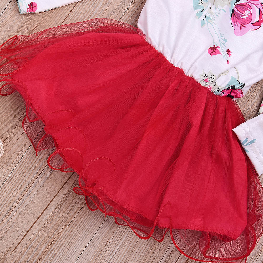 822839413d New Fashion Cute Toddler Kid Baby Girl Floral Long Sleeve Tulle Tutu  Princess Dress Outfit party photoshoot Red vestido infantil-in Dresses from  Mother ...