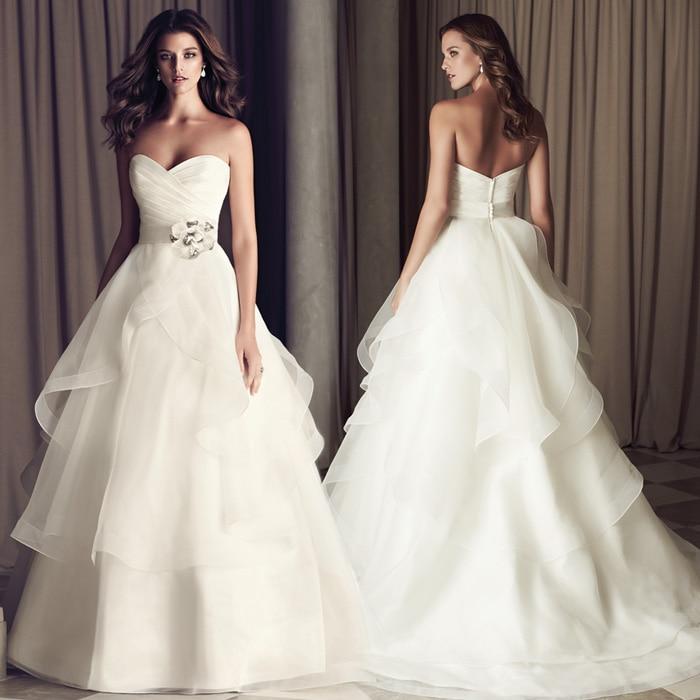 945c43cc26e1b0a Красота Эмили элегантный Многоуровневое Свадебные платья 2018 цветок  украшены пояса принцесса свадебное платье Vestido de Noiva