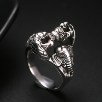 Luo Tai old silversmith 925 Silver Ring retro Thai silver jewelry Vajra ring finger like God and turn