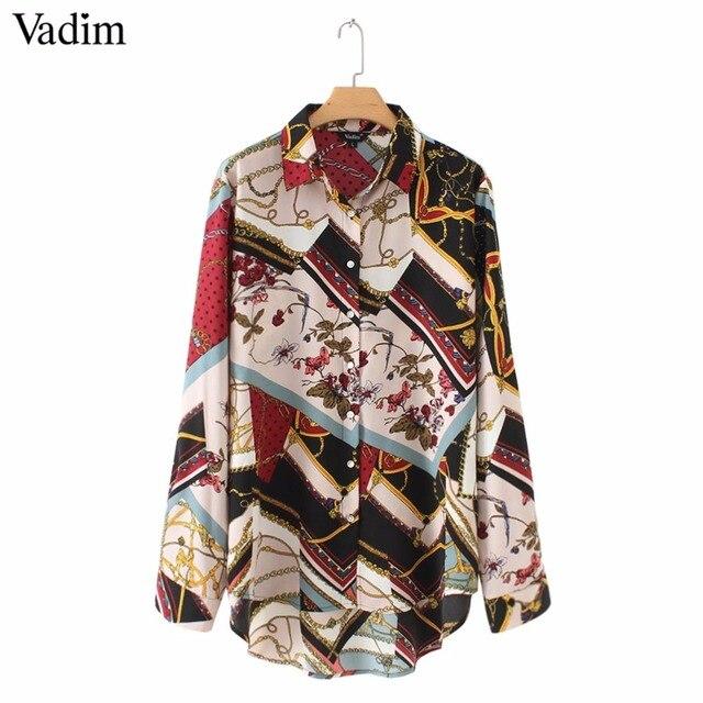 Vadim mujeres vintage patrón geométrico blusas manga larga cuello plisado mujeres ropa casual chic tops LA293
