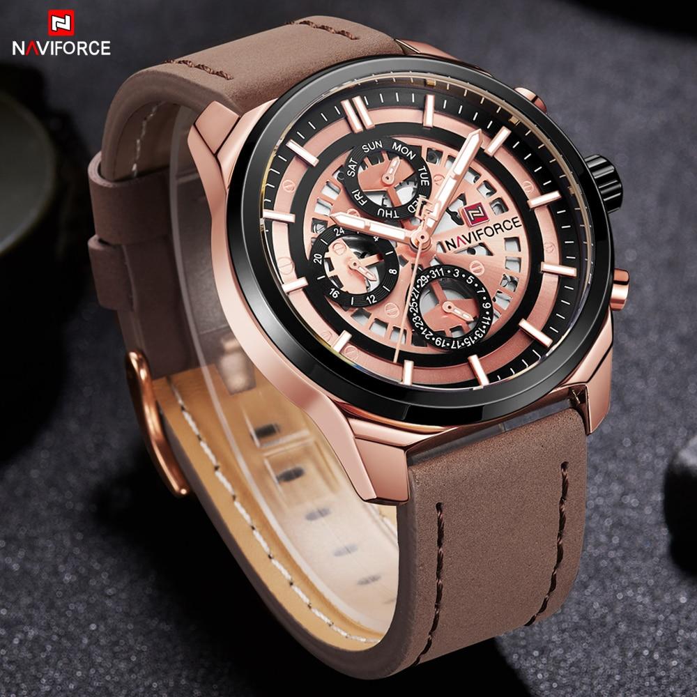 NAVIFORCE Men Quartz Watches Business Male Clock Fashion Casual Relogio Masculino Waterproof Luxury Wristwatch 12/24H Display