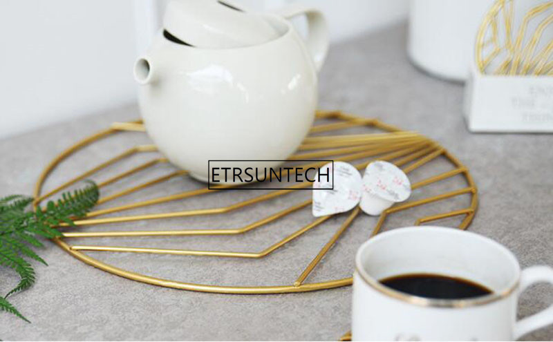Nordic Gold Iron Pot Pad Coasters Cup Placemat Coffee Cup Mat Table Top Heat Insulation Pad Home Desktop Decoration - 5