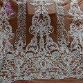 Новый модный стиль  белые Тяжелые шарики ручной работы на сетке  вышивка  платье на свадьбу/вечернее платье  кружевная ткань  1 ярд