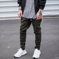 Black/Green hip hop fashion pants with zippers factory connection mens urban clothing joggers Men Slimming pants