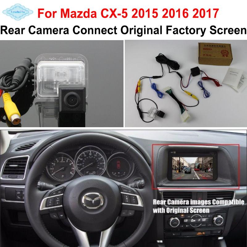 Lyudmila FOR Mazda CX-5 CX 5 CX5 2015 2016 2017 RCA ir originalus ekranas suderinamas / automobilio galinio vaizdo kamera / HD atvirkštinės kameros komplektai