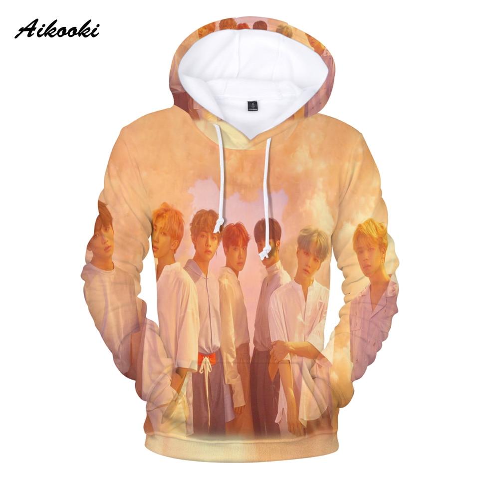 Sweatshirts 2018 3D BTS Hoodies Men/Women Sweatshirt Hoodies BTS Mens Cap Hoody BTS Polluvers Women Sweatshirt 3D Hoodie