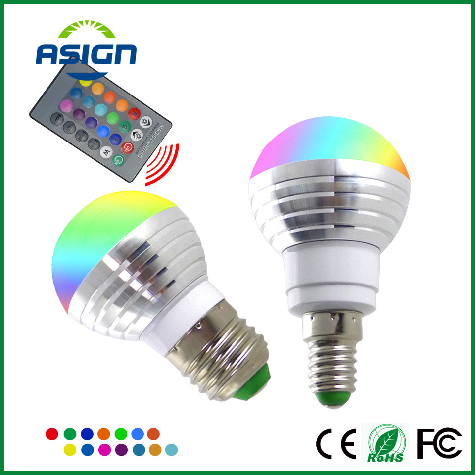 LED RGB Bulb Lamp E27 E14 AC85-265V 5W LED Changeable Spot Blubs Light Magic Holiday RGB lighting+IR Remote Control 16 Colors