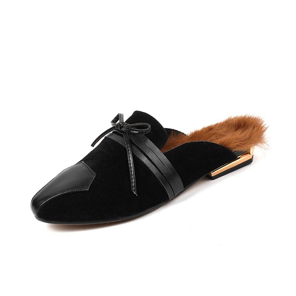 Piste Pantoufles L'extérieur Mode Femmes Pantoufle La Maguidern D'hiver Noir Mouton Main Fourrure À 2018 marron Classique Chaussures Chaud De Avec zIO0Oxq