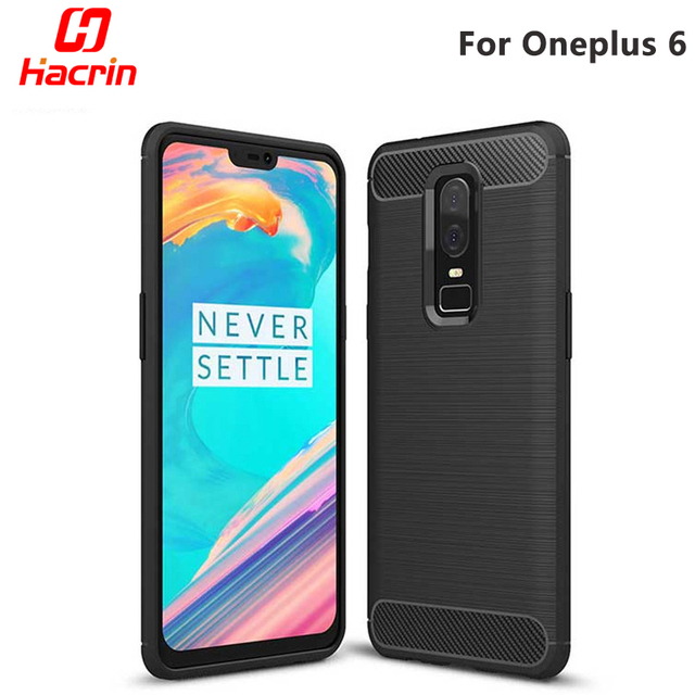 Oneplus 6 Case Cover Carbon Fiber Brushed Style Protective Back Cover Rugged Shockproof TPU Silicone Case For One plus 5T Hacrin