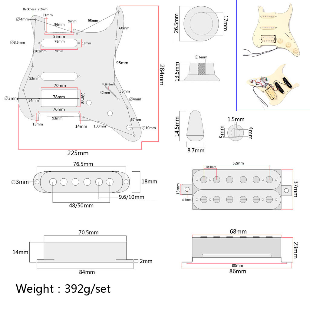 Купить с кэшбэком Prewired 3-ply Pickguard Scratchplate SSH 2-single Coil and 1 Dual Coil Pickup with Magnets for Fender ST Stratocaster Guitar