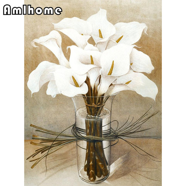 New Diy 5d Diamond Painting Cross Sch Full Square Embroidery Retro Calla Lily Home Decor