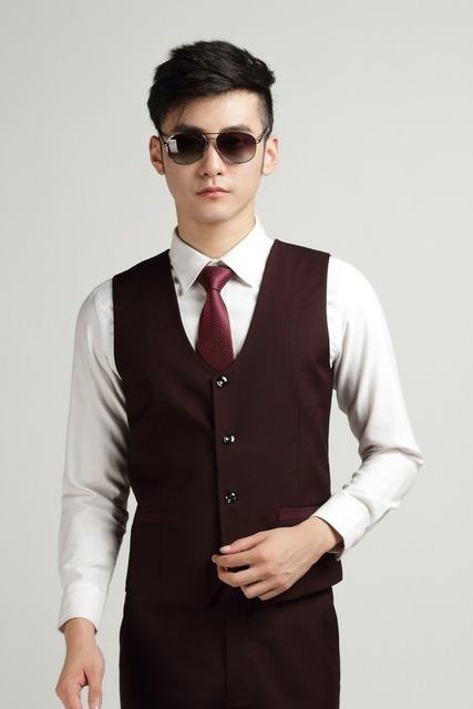 Autumn Fashion Men's Office Formal Business Vests Bestman Wine Red Suit Vest Mens Wedding Suits Groom Vest Chaleco Hombre Traje