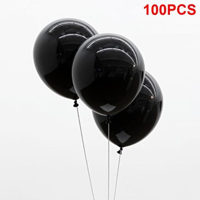 100 Uds., negro, 1,5g, 10 pulgadas, grueso, perlado, brillo, fiesta de boda, cumpleaños, globos redondos