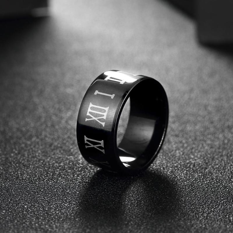 Roman Numerals Titanium Steel Ring for Men Jewelry Vintage Black Ring Men Punk Rock Ring Men Jewelry 2017 anel masculino Hot