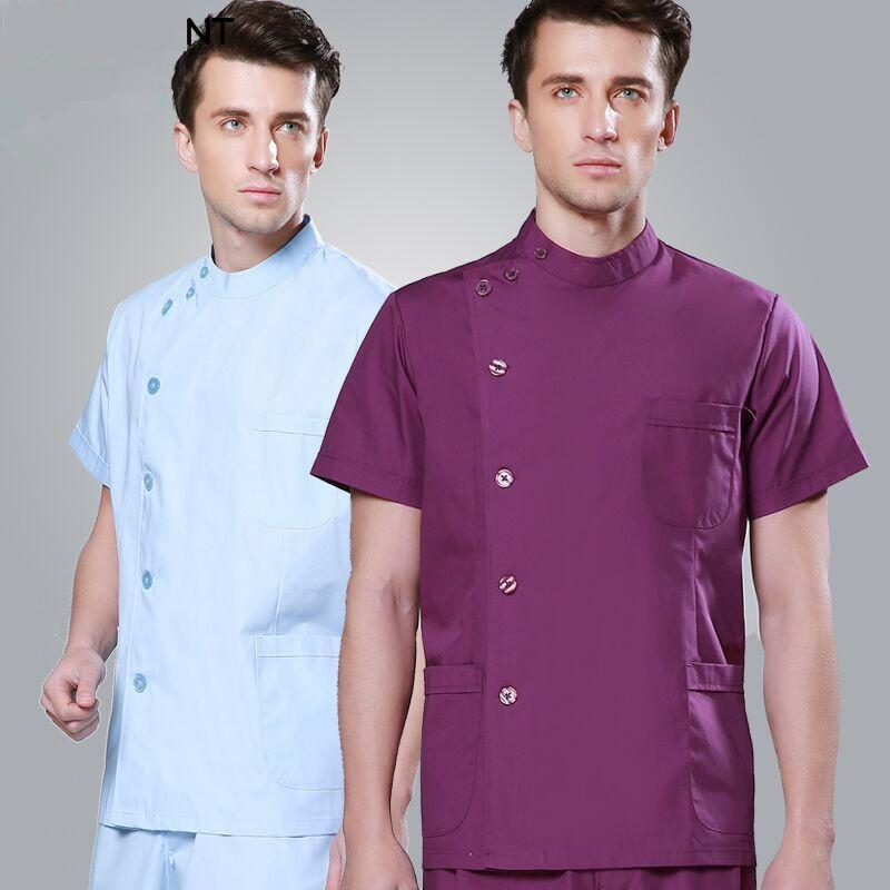 Nurse Scrubs Suit Men And Women Short Sleeve Dentists Uniform ICU Single Breasted Dental Doctor Uniform Lab Clothing Sets Retail