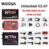 2018 Newest Online V2.47 EU Red Kess V5.017 OBD2 Manager Tuning Kit KTAG V7.020 4 LED Kess V2 5.017 K TAG 7.020 ECU Programmer