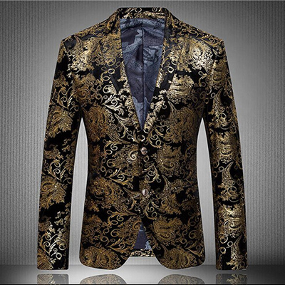 2015 New fashion black and gold blazer for men two button mens ...