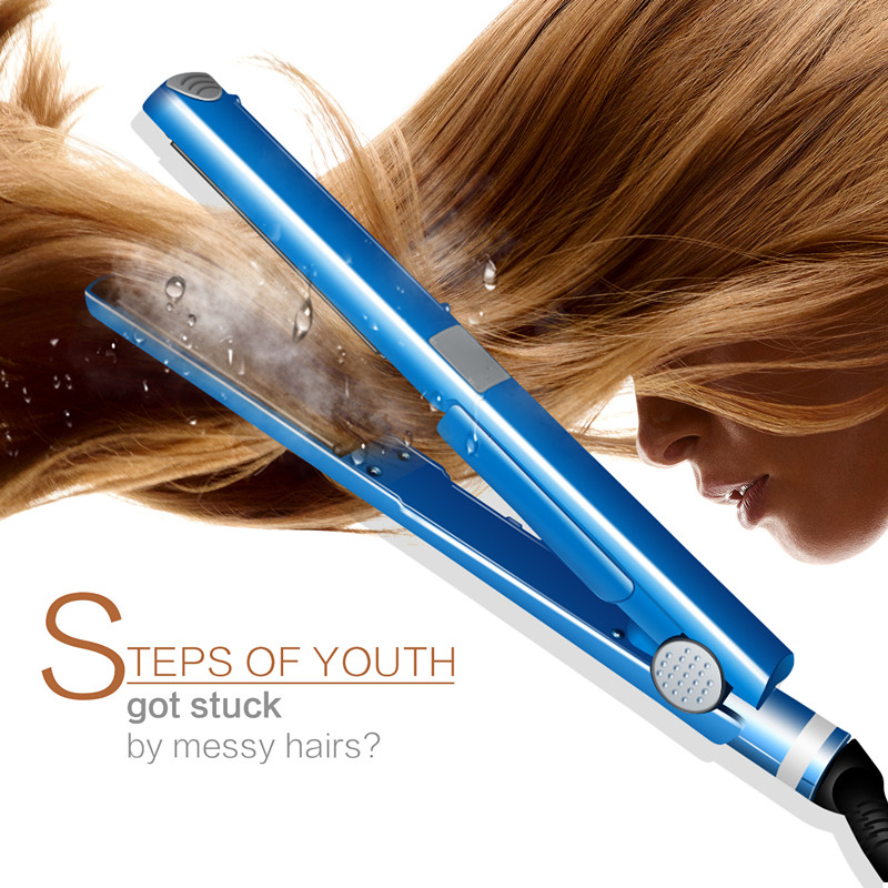 Pro Nano Titanium Plate 2 IN 1 Professional Hair Straightener Flat Iron Curling Irons Curlers Hair Styling Tools Blue