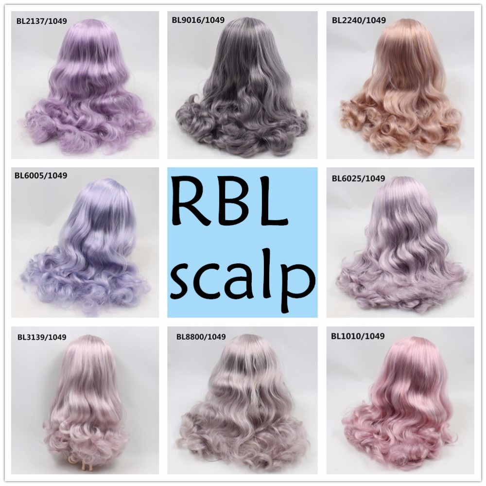 цена на free shipping RBL scalp for blyth doll icy purple mix hair