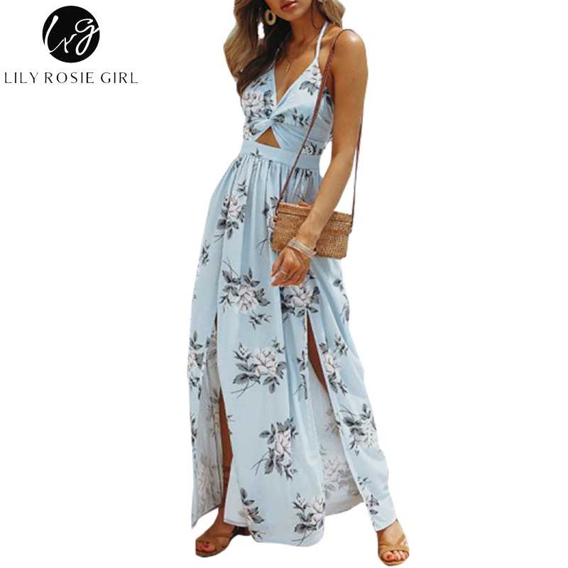 774d4f84ce38 Lily Rosie Girl Backless Beach Chiffon Women Dress Halter V Neck Crop Bow Maxi  Dress Split
