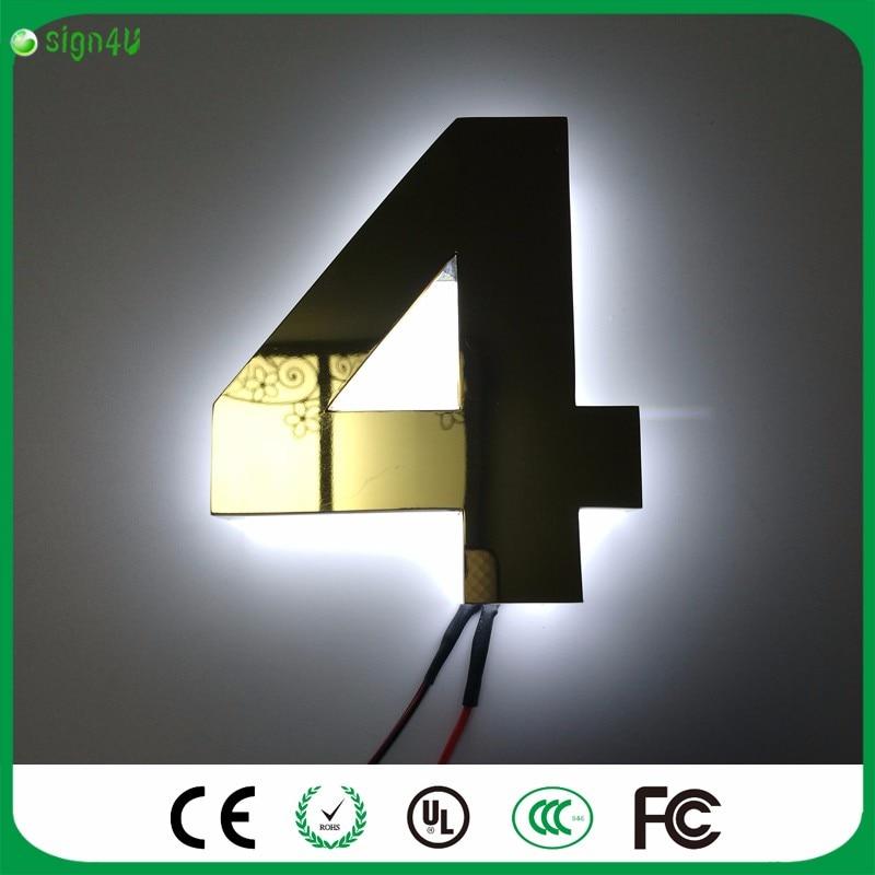 Sunsign 0 9 Moderne LED Verlichte Huisnummers \