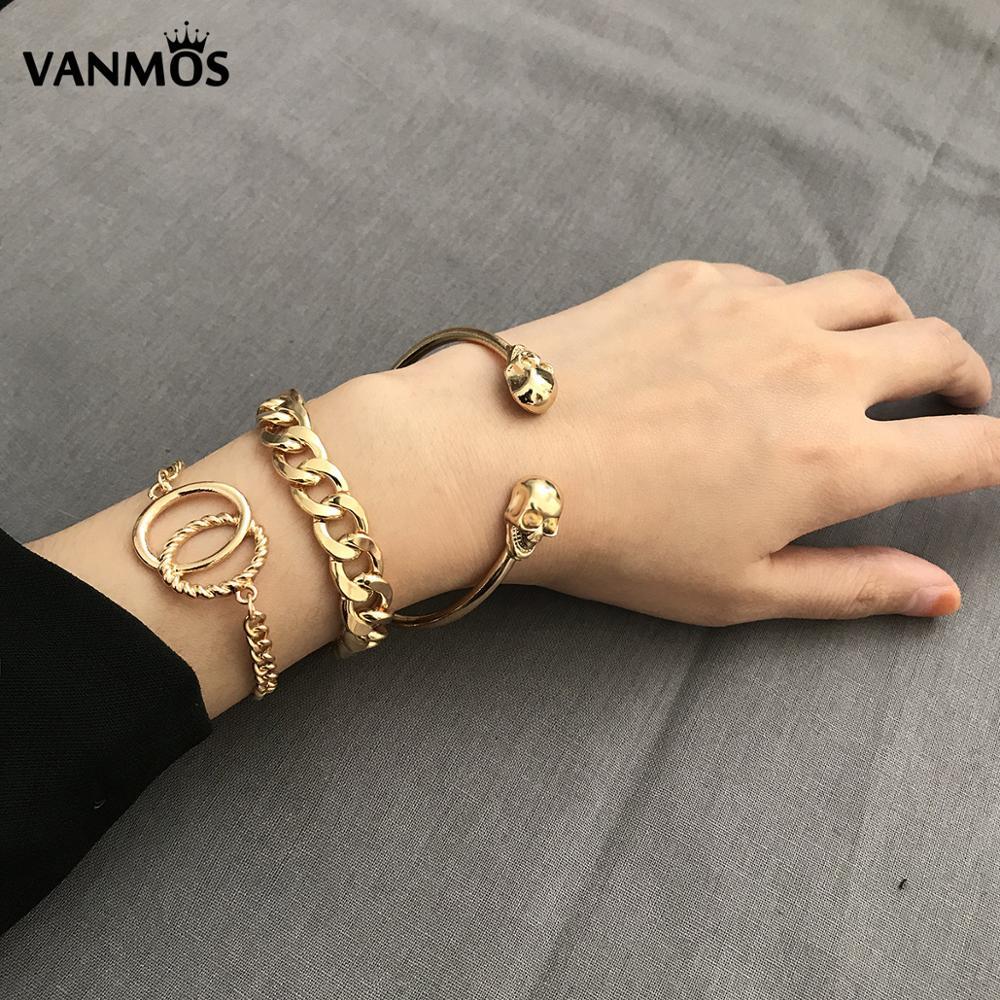 Vanmos Punk Skull Bracelets...