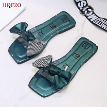 HQFZO Fashion Bowknot Casual Clear Slippers Flat Transparent Beach Sandals Ladies Summer Shoes Chanclas Flip Flops Zapatos