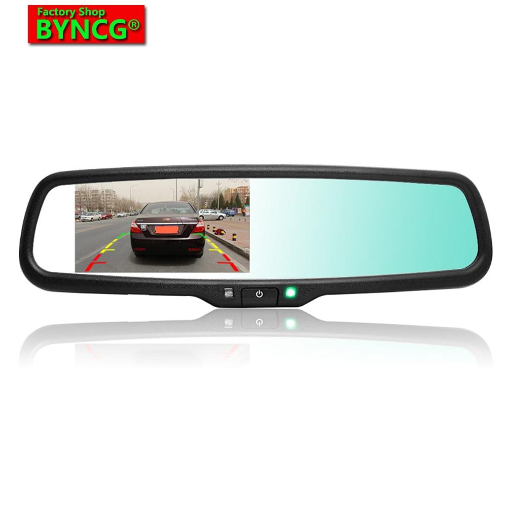 BYNCG WG34 4.3 TFT LCD De Voiture Vue Arrière Support Miroir Moniteur Aide Au Stationnement Avec 2 RCA Vidéo Lecteur D'entrée Livraison gratuite